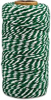 Bakers Twine Green and White, LaZimnInc Cotton Twine Packing String for Gardening, Decoration, Tying Cake and Pastry Boxes, Silverware, DIY Crafts & Gift Wrapping, Art and Crafts (2 mm/328Feet)