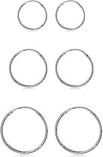 3 Pairs 925 Sterling Silver Small Hoop Earrings For Women Men Round Endless Hoop Earrings Set Lightweight 10MM 15MM 20MM