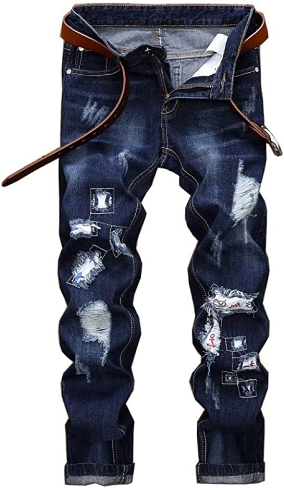 Men's Free shipping Pants Super-cheap Jeans Solid Color Retro Embroidered Straight Enduran