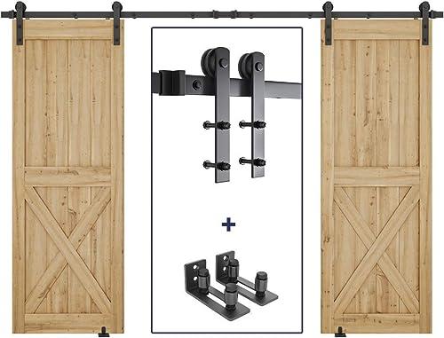 new arrival 10ft Heavy Duty new arrival Double Door Sliding Barn Door Hardware Kit + 2X Sliding Barn Door Bottom Adjustable Floor Guide popular Roller outlet online sale