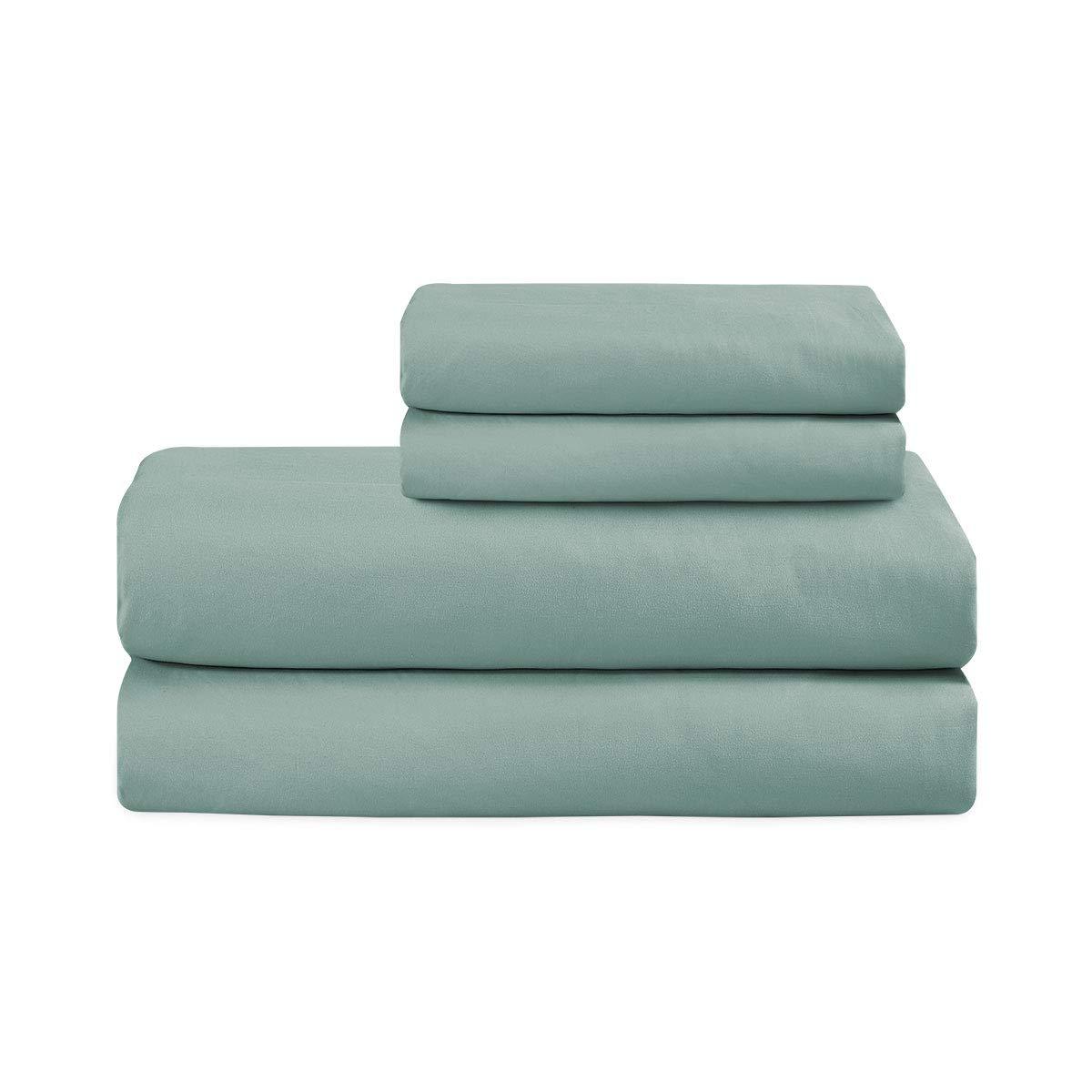 Basic Choice 床单套装 - 拉绒超细纤维 1800 超软床上用品 - 防皱、防褪色、防污 - 4 件 Spa 蓝色 两个 43195-43113