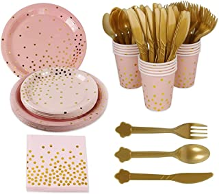 Pink Gold Party Supplies Disposable Tableware - Paper Dinnerware, Paper Plates, Cutlery, Napkins, Cups, Cutlery(Spoons, Fo...