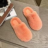 QPPQ Pantuflas de espuma viscoelástica, cómodas zapatillas de invierno para parejas, zapatillas de algodón de terciopelo lindas y aterciopeladas-Orange_6.5, zapatillas de algodón al aire libre