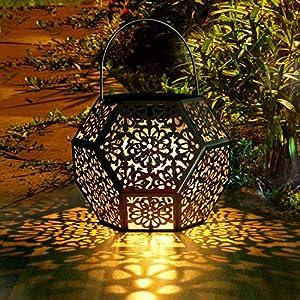 Farol Solar Exterior Jardin GolWof LED Lámpara Solar Jardín Luz Solar Exterio Luces de Linterna Solar Lámpara de Decoración Luces Decorativas para Jardin Terraza Patio Navidad - Plata