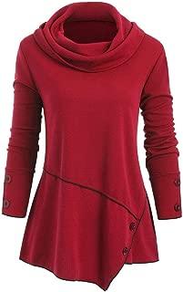 FONMA Fashion Women Plus Size Top Blouse Cowl Neck Buttons Asymmetric Coat Pullover
