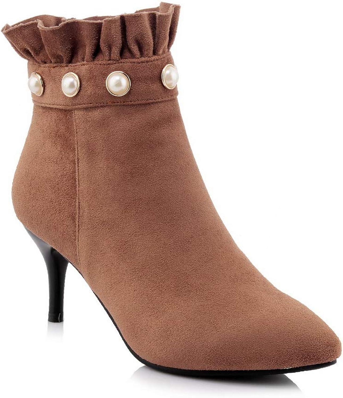 AdeeSu Womens Studded Beaded Ruffles Urethane Boots SXC03619