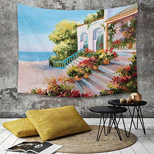 Yaoni Tapestry Pared paño Mantel Toalla de Playa,Paisaje, Vista al mar Desde la terraza de un Arte Retro Flores escaleras Viejas, Azul cl,Decoraciones para el hogar para la Sala de Estar Dormitorio