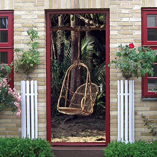 3D deursticker voor binnendeuren, 77 x 200 cm schommelstoel ideeën zelfklevende muurfoto's waterdichte deur sticker vinyl deur muurschilderijen deur behang voor slaapkamer badkamer 95x215cm
