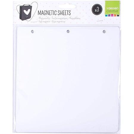 Vaessen Creative 3 Feuilles Magnétiques Blanches pour Organiser et Stocker Plaques d'embossage, Matrices de Découpe, Ornements et Autres Fournitures Créatifs