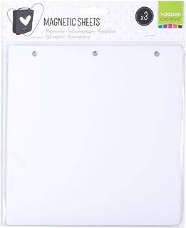 Vaessen Creative 3 Feuilles Magnétiques Blanches pour Organiser et Stocker Plaques d'embossage, Matrices de Découpe, Ornem...