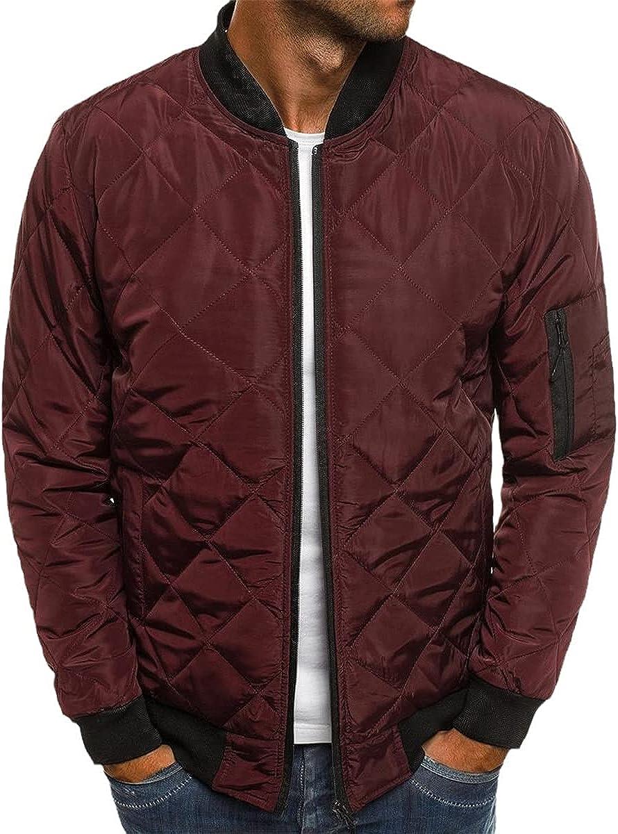 Men's Autumn Jacket Coat Windbreaker Casual Plaid Parka Coat Solid Color Coat Winter Jacket