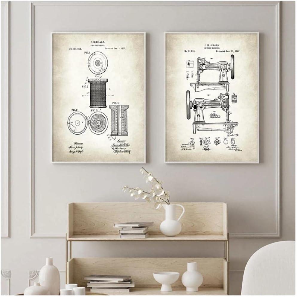 FUXUERUI Máquina de coser Patente Vintage Lienzo Pintura Carteles Arte industrial Impresión de pared Imagen para sala de estar Interior Decoración del hogar,40x60cmx2 Sin marco