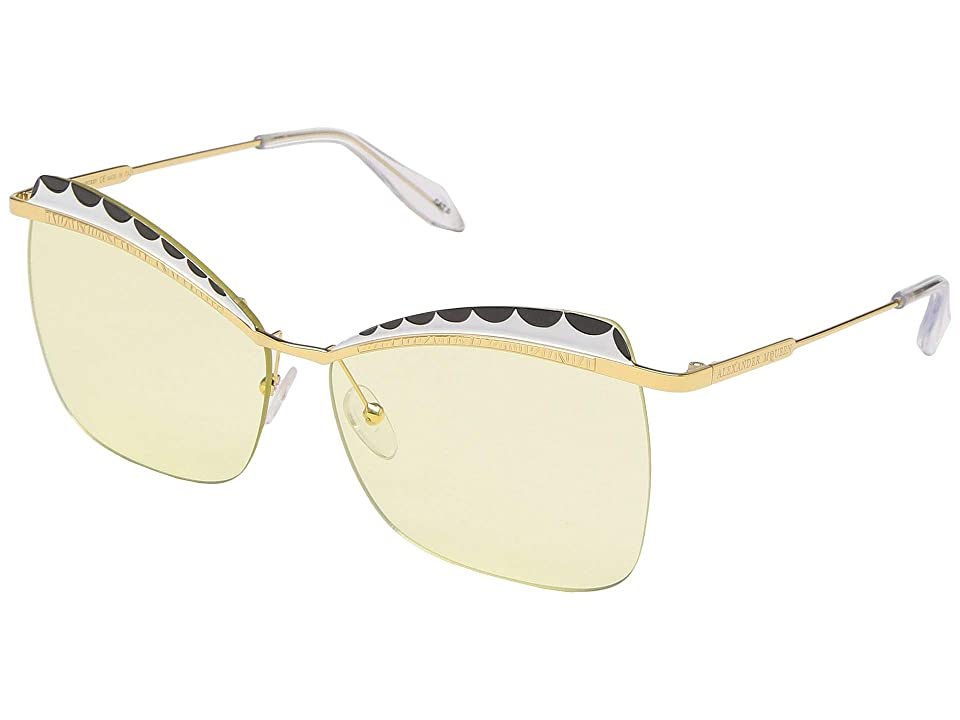 Alexander McQueen AM0059S (Gold/Gold/Yellow) Fashion Sunglasses