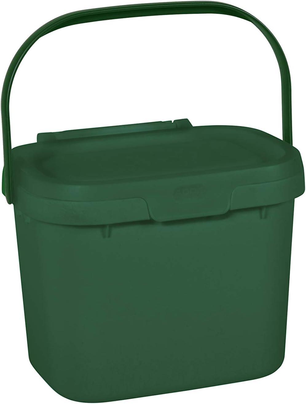 Addis Everyday - Papelera de Cocina, para residuos de Alimentos, para compostar, plástico, Verde Oscuro, Compost Caddy