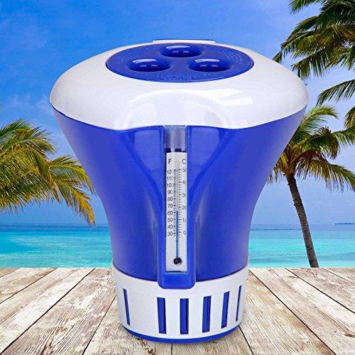 Deuba® Dosierschwimmer Chlordosierer für Pool Schwimmbecken Thermometer Wasserqualität 200g Chlor Tabletten