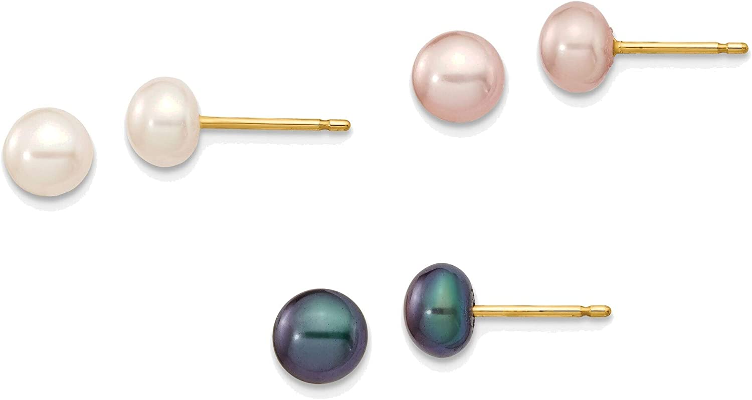5-6mm Button Freshwater Cultured Pearl Boxed 3 pair Post Earrings Set in 14K Yellow Gold