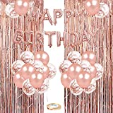 Rose Gold Birthday Party Decoration, 50PCS Rose Gold & Confetti Latex Balloons, Happy Birthday Balloons Banner with 2 Foil Fringe Curtains, Birthday Decorations for Women Girls