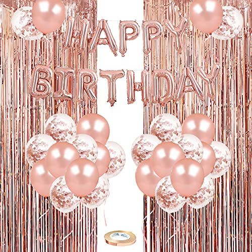 Rose Gold Birthday Party Decoration, 50PCS Rose Gold & Confetti Latex Balloons, Happy Birthday Balloons Banner with 2 Foil Fringe Curtains, Birthday Decorations for Women Girls 18th 21st 30th