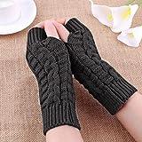 IEason Gloves, Fashion Knitted Arm Fingerless Winter Gloves Unisex Soft Warm Mitten (Gray)