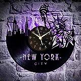 WERWN Nueva York Arte único Fondo de Vinilo Reloj de Pared Colgante de Pared decoración Regalo