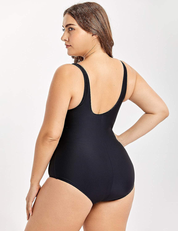 DELIMIRA Women's Basic Modest One Piece Swimsuit Plus Size Bathing Suits