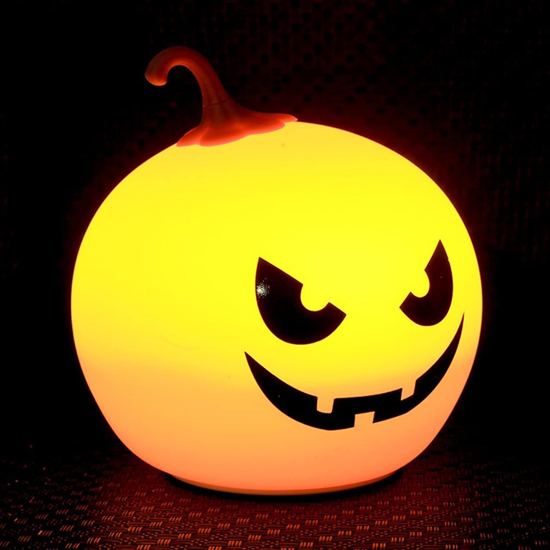 JUEJIDP Halloween Tag Geschenk Kürbis Licht Silikon Nachtlicht Kreative Dekompression Pat Licht Lade Kinderzimmer Lampe Schlafzimmer