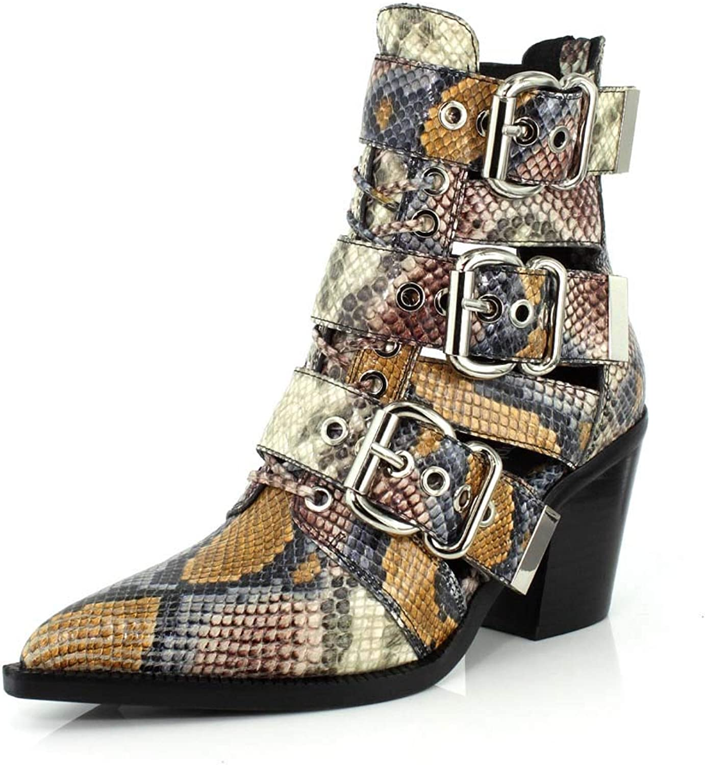 Jeffrey Campbell Caceres Western Leather Snake Boot Grey Wine