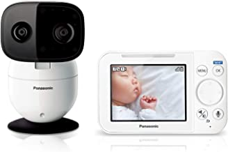 Panasonic Video Baby Monitor with Remote Pan/Tilt/Zoom, Extra Long Audio/Video Range, 2 Way Talk & Lullaby or Noises - 1 Camera KX-HN4101W (White)
