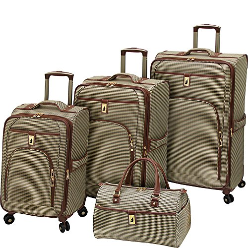 London Fog Cambridge 4 Piece Spinner Luggage Set (Olive Houndstooth)