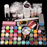 Acrylic Nail kit, with Nail Flowers Monomer and Basic Nail Art Tools Shinny Glitter Acrylic Powder liquid Kit Gift Box Set