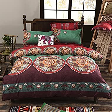 Vaulia Lightweight Microfiber Duvet Cover Set, Bohemia Exotic Patterns, Reversible Color Design, King Size