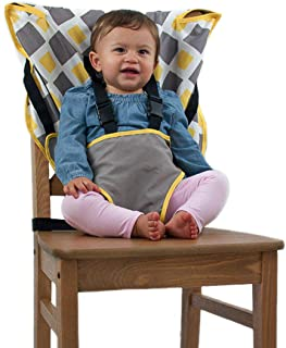 The Original Easy Seat Portable High Chair (Charcoal w/Yellow) - Quick, Easy, Convenient Cloth Travel High Chair Fits in Y...