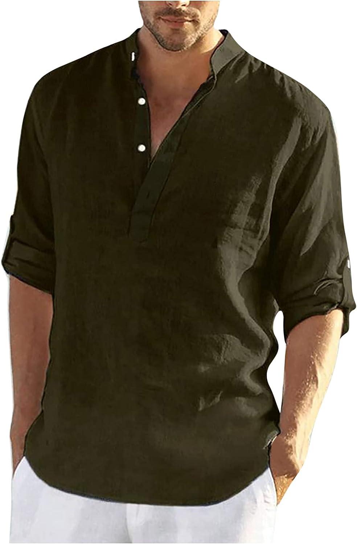 2021 Camisa Hombre otoño Algodón y lino Manga corta Color sólido camiseta Moda Casual Suelto T-shirt Blusas camisas Camiseta Cuello en v suave básica Primavera Verano camiseta Top