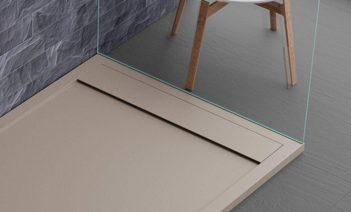 Plato de ducha color capuchino, diseño moderno, modelo Sevilla, en Mineralmarmo efecto piedra pizarra, Luxury, gelcoat, slim 3 cm, fabricado en Europa: Amazon.es: Bricolaje y herramientas