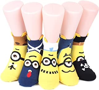 Minions de la mujer tobillo Calcetines 6 pares (6 color) = 1 unidades fabricado en Corea
