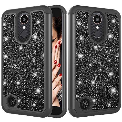 ZHENGYAQI-PHONE CASE Caja del teléfono for LG K10 (2017) / K20 Plus Polvo del Brillo de la Piel Contraste Caja Protectora de Silicona a Prueba de Golpes + PC Estuche Protector (Color : Black)