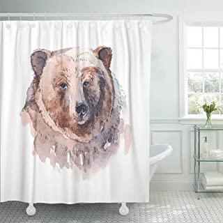 SPXUBZ Brown Animal Grizzly Bear Head Front Watercolor Painting White Arts Drawing Shower Curtain Waterproof Bathroom Decor Polyester Fabric Curtain Sets with Hooks