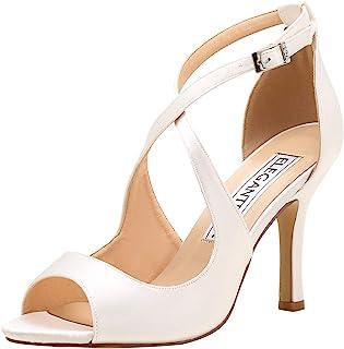 355b54021a4d ElegantPark Women Peep Toe High Heel Sandals Cross Strappy Wedding Evening  Dress Shoes Buckle Stain
