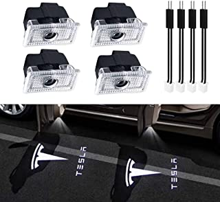 Car Door LED Logo Projector puddle lights Welcome Light Ghost Shadow for Tesla Model 3 Model S Model X Accessories(4 pack)