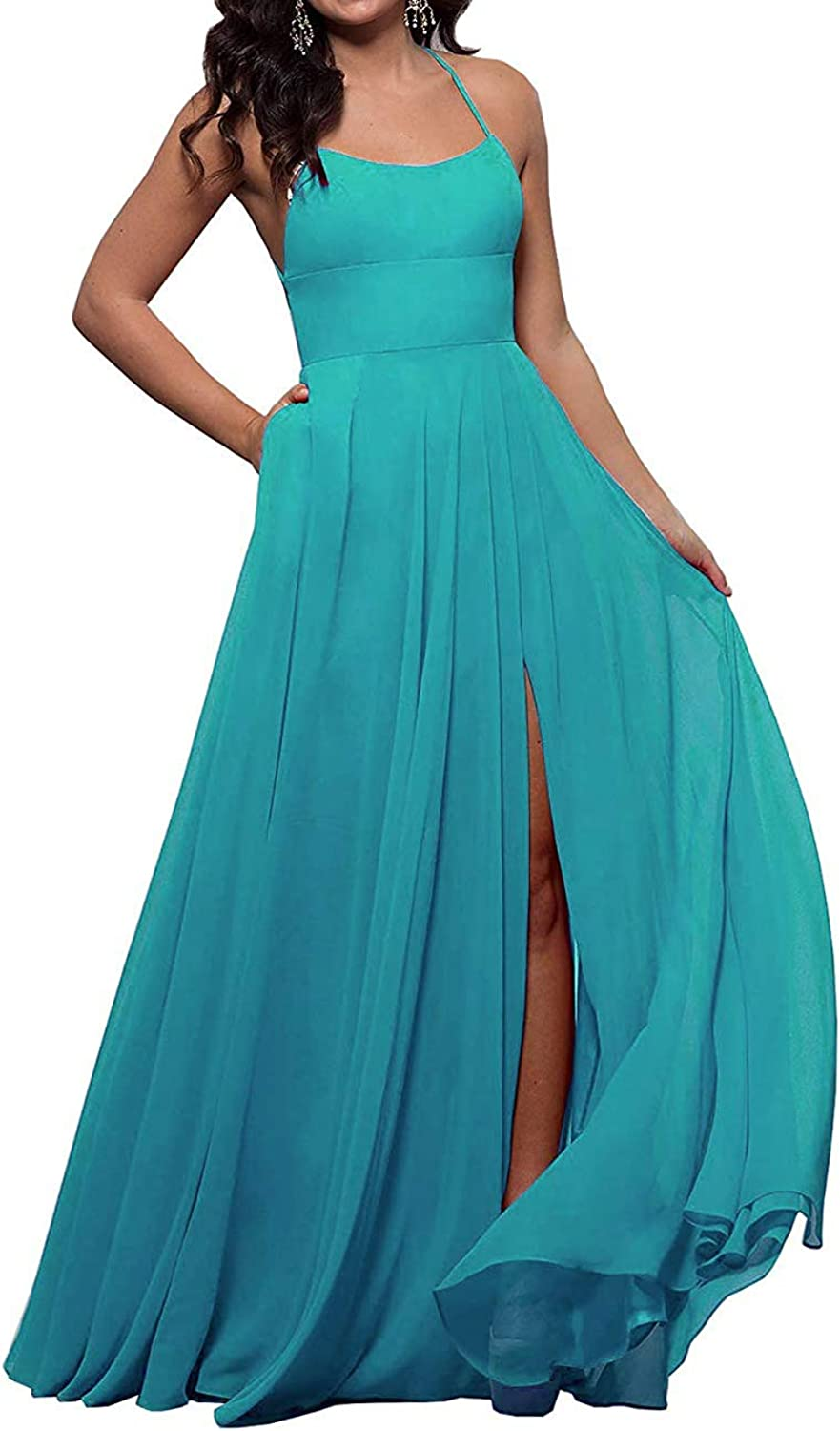 ALine StraightNeck Long Prom Gown for Women Sexy Side Slit Bridesmaid Dresses