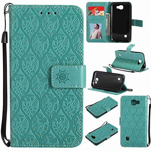 pinlu® PU Leder Tasche Handyhülle Für LG K3 2017 4G Smartphone Wallet Hülle Mit Standfunktion & Kartenfach Design Rattan Blume Prägung Mint Grün