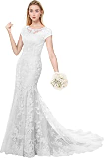 Modest Wedding Dress for Bride Short Sleeves Sheath Floral Lace