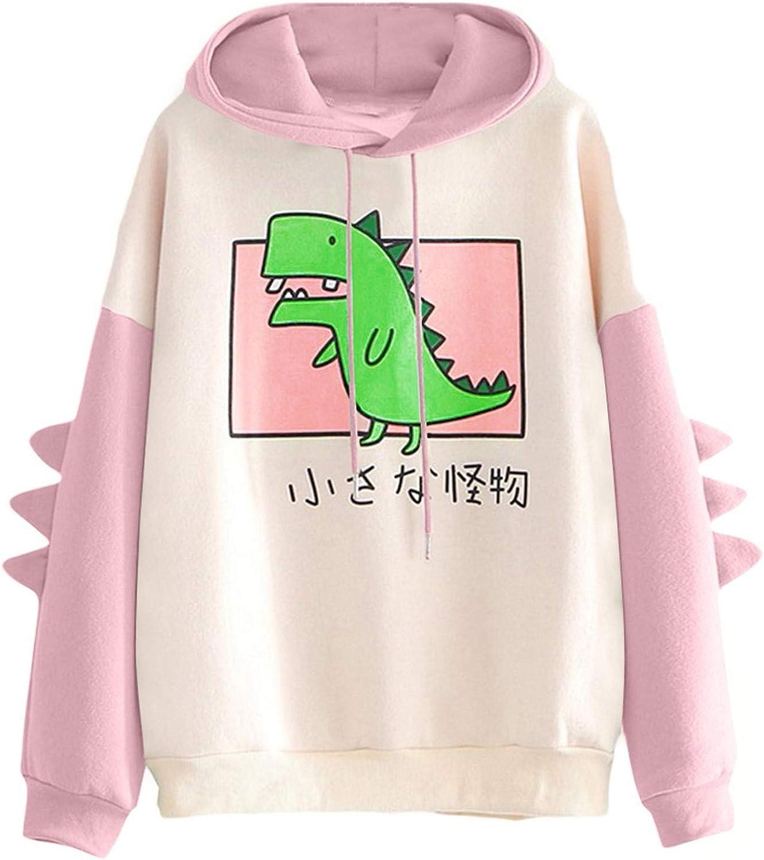 Women's Dinosaur Sweatshirt Long Sleeve Patchwork Tops Cartoon Cute Hoodies Teens Girls Casual Comfy Pullover