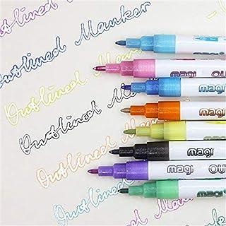 Super Squiggles Shimmer Markers, 8 Colors Doodle Dazzles Shimmer Marker Set, Double Line Outline Pens, Outline Metallic Ma...