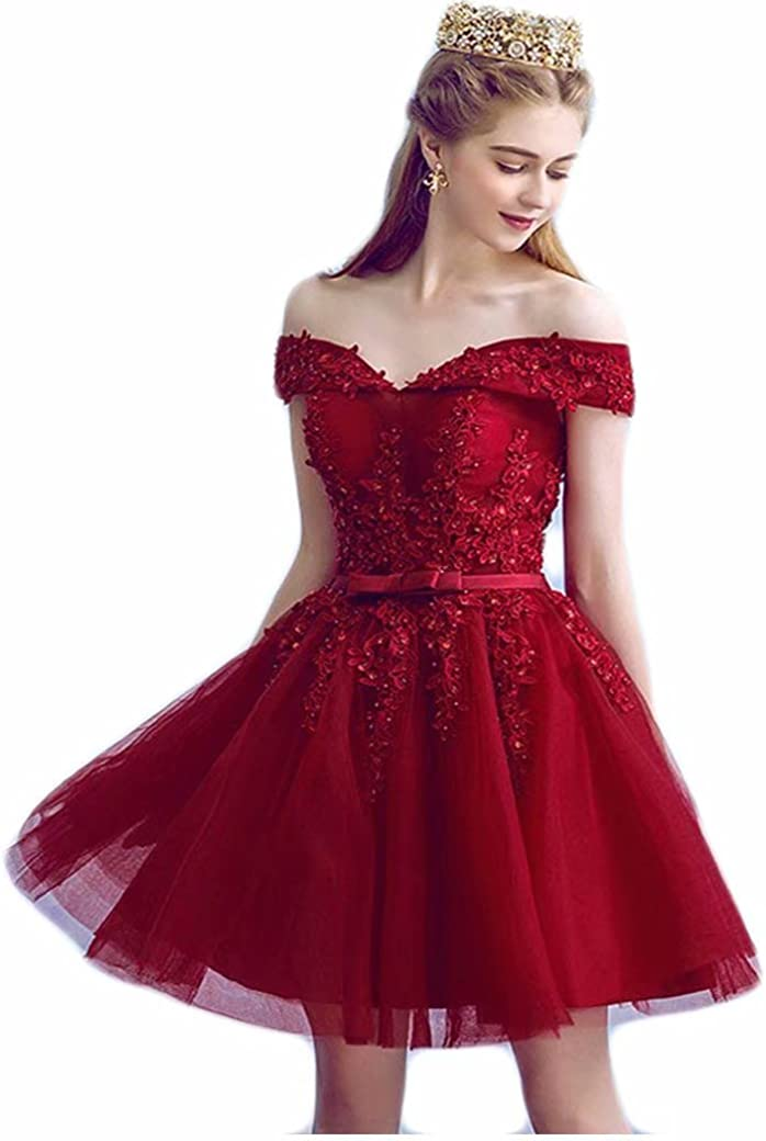 Tulle Homecoming Dresses Lace Appliques Off Shoulder Short Graduation Formal Cocktail Party Gowns for Juniors