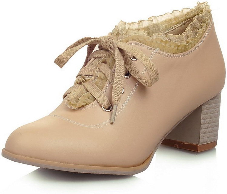 BalaMasa Womens Round-Toe Chunky Heels Lace Urethane Oxfords shoes