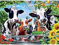 クロスステッチプレプリント放牧牛40x50cmクロスステッチキットDIY針と糸プレプリント刺繍家の装飾14CT(プレプリントキャンバス)