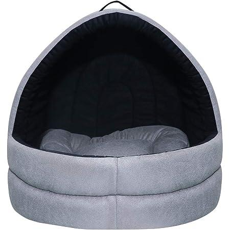 Mellifluous Medium Size Dog and Cat Cave Pet Bed, Grey-Black