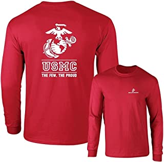 Marines USMC The Few The Proud White Emblem F&B Long Sleeve T-Shirt