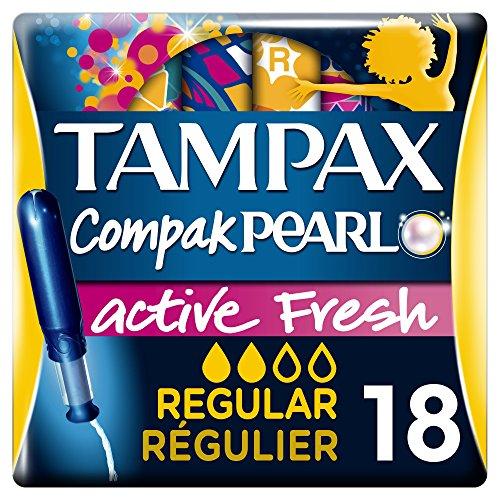 Tampax Compak Pearl Active Fresh sellos de periódico con aplicador, paquete de 2 x18